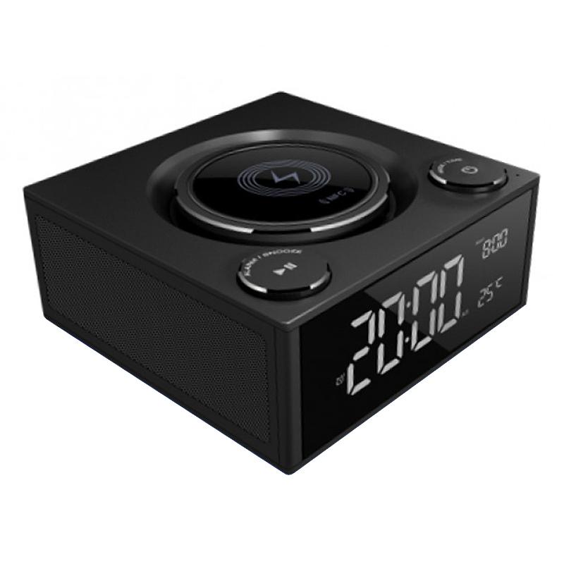 9769deb1396 Qi Wireless Charging Alarm Clock + Bluetooth Speaker Radio + USB Ports ...
